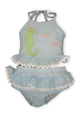 Funtasia Too Seahorse Ridin` blue and white checked seersucker two piece swimsuit with appliqued seahorse and two fish and ruffles.
