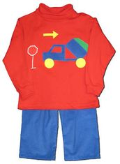Funtasia Too See Ya Later Dump Truck red turtleneck with a dump truck on the front and matching pants. Great for your construction worker.