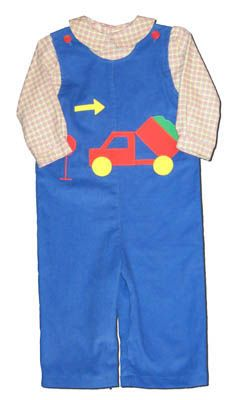 Funtasia Too See Ya Later Alligator royal blue longalls with a dump truck on the front and a matching plaid shirt. Fun for your boy.
