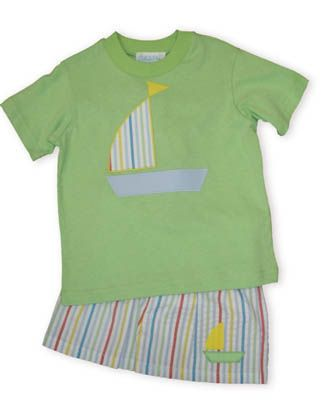 Funtasia Too Ships Ahoy lime shirt with an applique boat and matching multicolored striped swimtrunks with an appliqued boat.