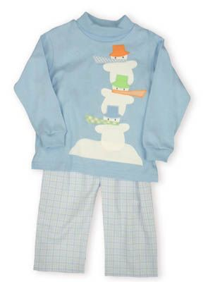 Funtasia Too Snow Day blue turtleneck with three snow men stacked on top of each other and light blue checked pants.