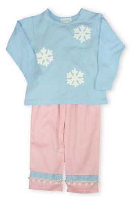 Funtasia Too Snow Princess soft blue shirt with snowflakes and pink pants with blue rim to accompany it.