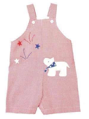 Funtasia Too Star Spangled Sky red and white checked seersucker shortall with a dog watching fireworks. Very comfortable and a great outfit for your little boy.