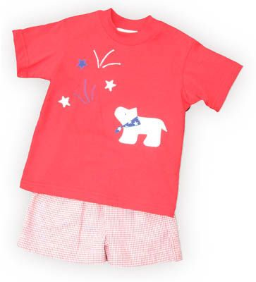 Funtasia Too Star Spangled Sky red shirt with a dog watching fireworks and matching red and white checked seersucker shorts. Very comfortable and a great outfit for your boy.