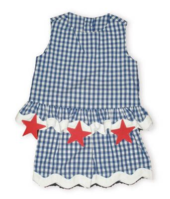 Funtasia Too Starlight America blue and white checked swing top with three red stars at the bottom and matching blue and white checked shorts.