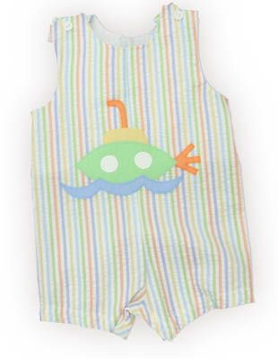 Funtasia Too Sub Searching multicolored shortall with a submarine on the front. Extremely cute and a great summer outfit.