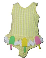 Funtasia Too Sweet Sailing one piece yellow checked seersucker swimsuit with popsicles on the front. Comfortable and great for the pool and swimming.
