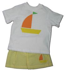Funtasia Too Sweet Sailing white shirt with a sailboat on the front and matching yellow checked seersucker swimtrunks. Super cute and great for swimming.