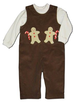 Funtasia Too Sweet Treats brown longalls with two gingerbread men and a white turtleneck. Super cute for your little man.