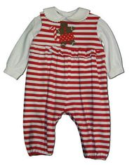 Funtasia Too Sweet Treats red striped romper with a gingerbread man on the front. BLOUSE NOT INCLUDED. Very soft and fun for the holidays.