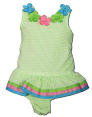 Funtasia Too Tails and Petals green checked seersucker one piece with flowers on it. Super cute and a great style.
