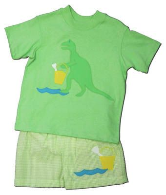 Funtasia Too Tails and Petals green shirt with a dinosaur and matching lime checked seersucker swimtrunks. Cute and great for your dino lover.