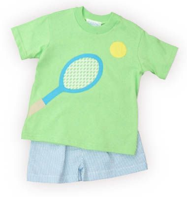 Funtasia Too Tennis Champ lime green shirt with a tennis racket and ball on the front. Also comes with turquoise and white checked shorts. Fun for your tennis pro.