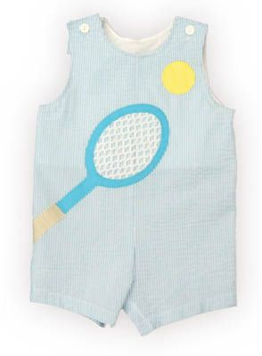Funtasia Too Tennis Champ turquoise and white checked shortall with a tennis racket and ball on the front. Adorable for your tennis pro.