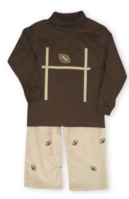 Funtasia Too Touchdown brown knit turtleneck with a field goal and football on the front. Comes with khaki pants with embroidered footballs.