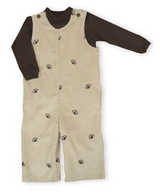 Funtasia Too Touchdown khaki corduroy longalls with footballs embroidered on them and a brown knit turtleneck.