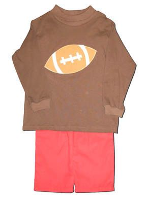 Funtasia Too Touchdown pant set with a football on the brown turtleneck and red corduroy pants. Festive and fun.