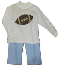 Funtasia Too Touchdown pant set with a football on the white turtleneck and blue corduroy pants. Festive and fun.