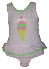 Funtasia Too We All Scream for Ice Cream One Piece Seersucker Swimsuit.