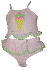 Funtasia Too We All Scream for Ice Cream Two Piece Seersucker Swimsuit.