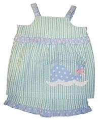 Funtasia Too Wee Little Whale Seersucker Whale Swing top Short Set.