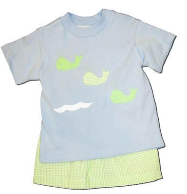 Funtasia Too Whale of a Tale Blue shirt with lime seersucker shorts.