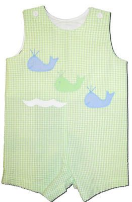 Funtasia Too Whale of a Tale lime seersucker shortall with appliqued whales.