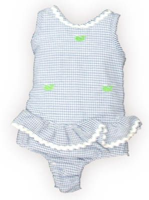 Funtasia Too Whale Watching blue and white checked one piece seersucker swimsuit with embroidered whales. Super cute and matches the boys. Also matches the coverup and towel.