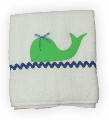 Funtasia Too Whale Watching white towel with a whale on the front. Matches the one piece and two piece swimsuits.