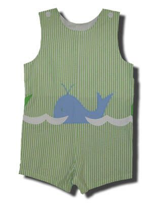 Funtasia Too Whales, Whales, Whales green striped shortall with a whale on the front. Very cute.