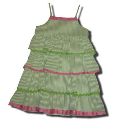 Funtasia Too Whales, Whales, Whales green striped tiered dress with ribbons. Feminine and fun.