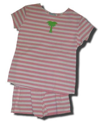 Funtasia Too Whales, Whales, Whales pink and white striped short set with a palm tree on the front. Very soft for school and play.