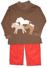 Funtasia Too Wild Horses pant set with three horses on the brown shirt and red pants. Great for your little cowboy.