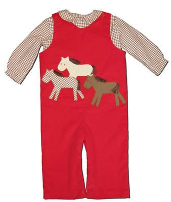 Funtasia Too Wild Horses red longall with horses on the front and a matching brown checked shirt. Fun and adorable for your horse lover.