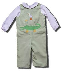 Funtasia Too Wild Things green overall set with an alligator on the front and a peter pan shirt. Super adorable and matches the girls.