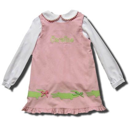 Funtasia Too Wild Things pink jumper with alligators on the front and matching peter pan blouse. Super cute and coordinates with the boys.