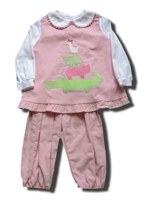 Funtasia Too Wild Things pink popover set with animals on the front and matching peter pan blouse. Super cute and coordinates with the boys.