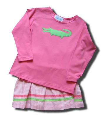 Funtasia Too Wild Things skirt set with an alligator on the pink shirt. Super cute for school and play.
