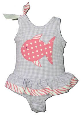 Funtasia Too Zebra Fish purple checked seersucker one piece swimsuit with a fish on the front. Super cute and very feminine.