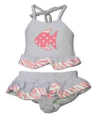 Funtasia Too Zebra Fish purple checked seersucker two piece swimsuit with a fish on the front. Super cute and very feminine.