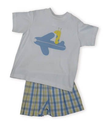 Funtasia Too Zoom, Zoom, Zoom white shirt with a giraffe flying an airplane. Comes with matching blue, yellow, and white checked shorts.