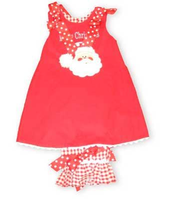 Giggle Box Santa Clause festive red corduroy jumper with pantalettes wishes you and yours a Merry Christmas. Reverses to match the checked pantalettes, while a polka dotted ladybug keeps her company.