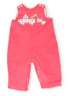 Giggle Box Tow Truck berry red corduroy longalls are so classic and cute. Closures at the straps and inseam make changes easy.