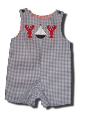 Glorimont All American Sailboat Race lobster and sailboat reversible shortall. So cute and comfortable.