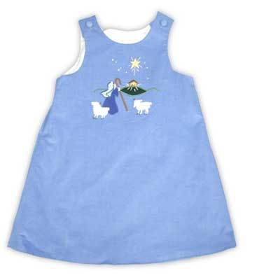 Glorimont Angels We Have Heard on High periwinkle soft corduroy jumper with Shepherd and Manger scene appliqued on the front.