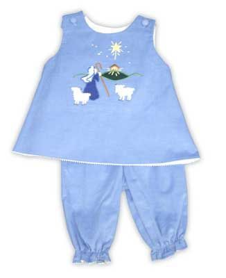 Glorimont Angels We Have Heard on High periwinkle soft corduroy popover with Shepherd and Manger scene appliqued on the front with matching bloomers.