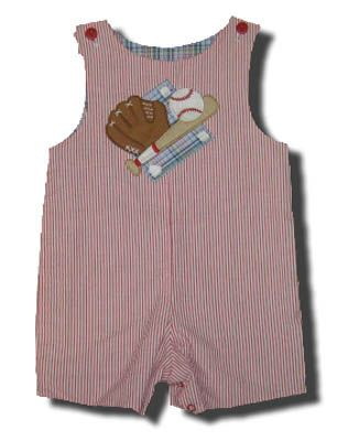 Glorimont Bases Loaded red striped reversible shortall with appliqued baseball, bat, and glove. Super cute.