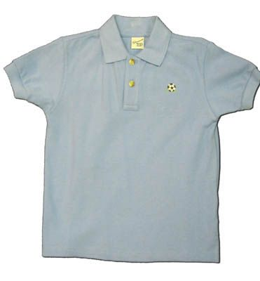 Glorimont blue polo soccer ball on the front. Super classic and cute.
