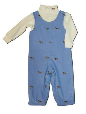 Glorimont boys toddler clothes A Horse`s Best Friend blue longalls with embroidered horses and a white turtleneck. Matches the girls.