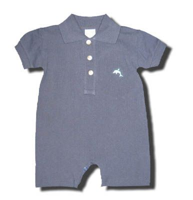 Glorimont Dolphin navy polo romper with a dolphin embroidered. So cute and comfortable.